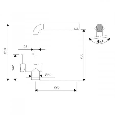 Baterie CookingAid RODI LINE MN 805 cu cap baterie rotativ la 360°5