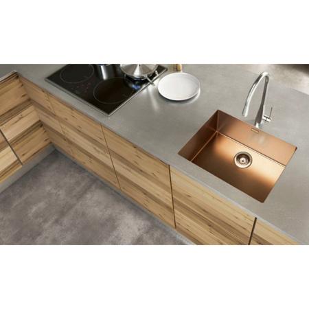 Chiuveta bucatarie inox CookingAid BOX LUX 50 COPPER cu strat PVD ceramic culoare cupru + accesorii montaj [0]