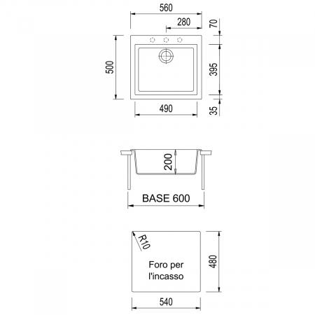 Chiuveta bucatarie granit CookingAid Cube ON5610 Trufa Maro / Truffle + accesorii montaj1