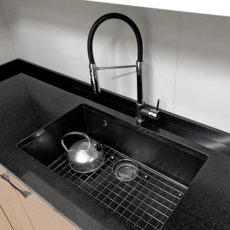 Chiuveta bucatarie granit CookingAid Cube ON7610 Neagra / Black Metal quartz cu cleme montaj sub blat + accesorii montaj0