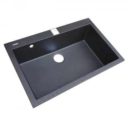 Chiuveta bucatarie granit CookingAid Cube ON7610 Neagra / Black Metal quartz cu cleme montaj sub blat + accesorii montaj4