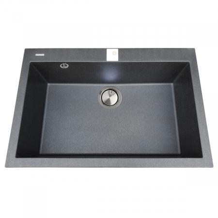 Chiuveta bucatarie granit CookingAid Cube ON7610 Neagra / Black Metal quartz cu cleme montaj sub blat + accesorii montaj5