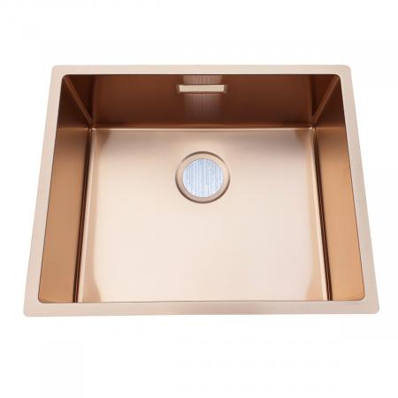 Chiuveta bucatarie inox CookingAid BOX LUX 50 COPPER cu strat PVD ceramic culoare cupru + accesorii montaj [2]