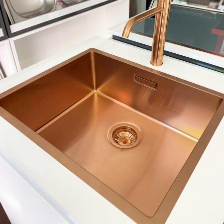 Chiuveta bucatarie inox CookingAid BOX LUX 50 COPPER cu strat PVD ceramic culoare cupru + accesorii montaj [7]