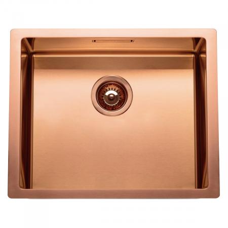 Chiuveta bucatarie inox CookingAid BOX LUX 50 COPPER cu strat PVD ceramic culoare cupru + accesorii montaj [1]