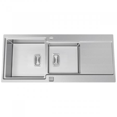 Chiuveta bucatarie inox CookingAid EVO 116 dubla cu 2 cuve + picurator si ventil automat reversibila stanga/dreapta + accesorii montaj9