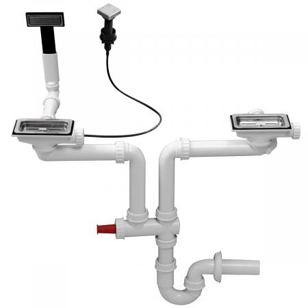 Chiuveta bucatarie inox CookingAid EVO 116 dubla cu 2 cuve + picurator si ventil automat reversibila stanga/dreapta + accesorii montaj12