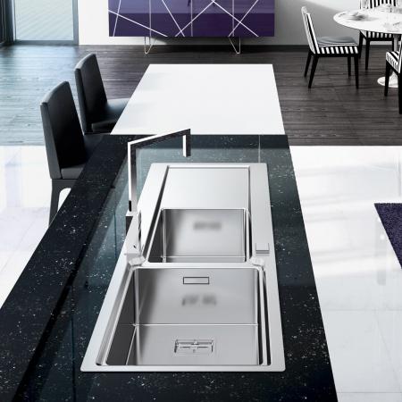 Chiuveta bucatarie inox CookingAid EVO 116 dubla cu 2 cuve + picurator si ventil automat reversibila stanga/dreapta + accesorii montaj1