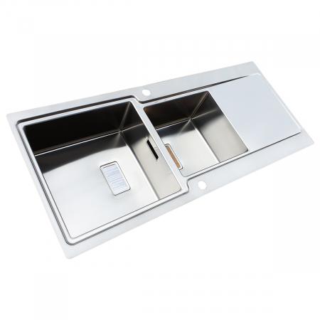 Chiuveta bucatarie inox CookingAid EVO 116 dubla cu 2 cuve + picurator si ventil automat reversibila stanga/dreapta + accesorii montaj2