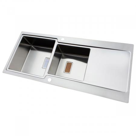 Chiuveta bucatarie inox CookingAid EVO 116 dubla cu 2 cuve + picurator si ventil automat reversibila stanga/dreapta + accesorii montaj3