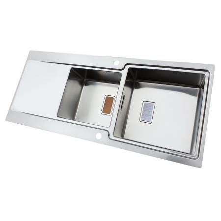 Chiuveta bucatarie inox CookingAid EVO 116 dubla cu 2 cuve + picurator si ventil automat reversibila stanga/dreapta + accesorii montaj4