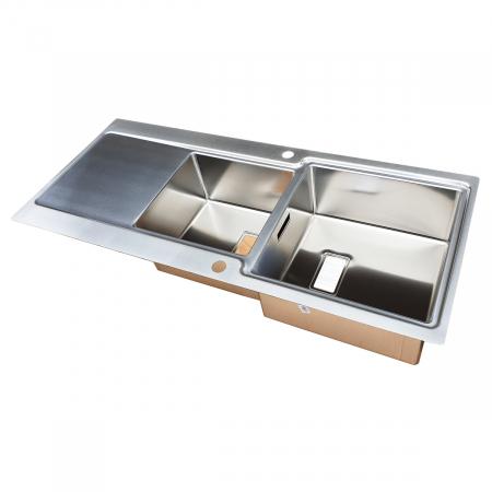Chiuveta bucatarie inox CookingAid EVO 116 dubla cu 2 cuve + picurator si ventil automat reversibila stanga/dreapta + accesorii montaj5