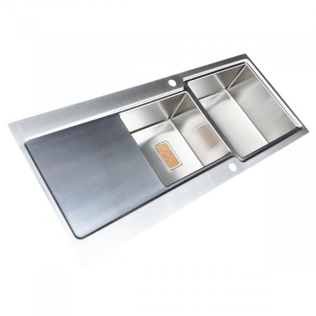 Chiuveta bucatarie inox CookingAid EVO 116 dubla cu 2 cuve + picurator si ventil automat reversibila stanga/dreapta + accesorii montaj6