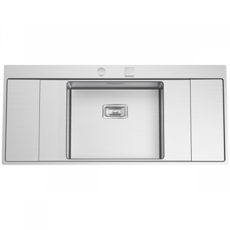 Chiuveta bucatarie inox CookingAid XERON B50 reversibila cu ventil scurgere dreptunghiular automat si accesorii montaj1
