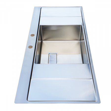 Chiuveta bucatarie inox CookingAid XERON B50 reversibila cu ventil scurgere dreptunghiular automat si accesorii montaj3