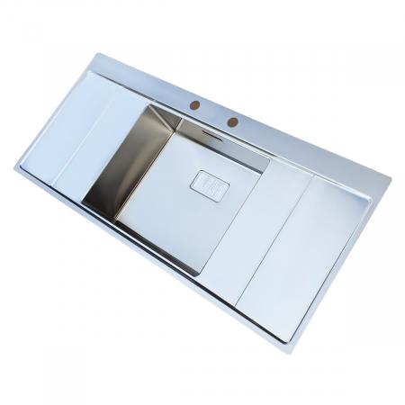 Chiuveta bucatarie inox CookingAid XERON B50 reversibila cu ventil scurgere dreptunghiular automat si accesorii montaj4