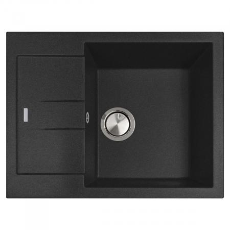 Chiuveta bucatarie granit CookingAid Amanda AM6510 Neagra / Black Metal quartz reversibila stanga/dreapta cu picurator + accesorii montaj1