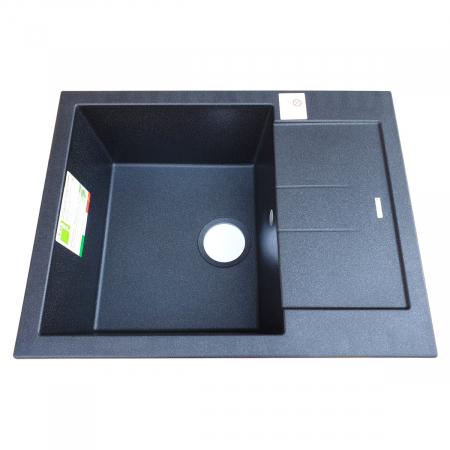 Chiuveta bucatarie granit CookingAid Amanda AM6510 Neagra / Black Metal quartz reversibila stanga/dreapta cu picurator + accesorii montaj3