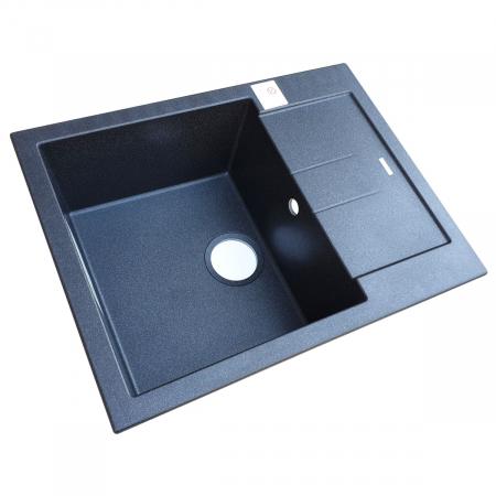Chiuveta bucatarie granit CookingAid Amanda AM6510 Neagra / Black Metal quartz reversibila stanga/dreapta cu picurator + accesorii montaj6