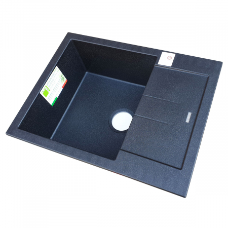 Chiuveta bucatarie granit CookingAid Amanda AM6510 Neagra / Black Metal quartz reversibila stanga/dreapta cu picurator + accesorii montaj2