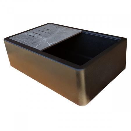 Chiuveta bucatarie granit reversibila CookingAid Lux LX8410 Farm House Apron Neagra / Black Metal Quartz + accesorii montaj3