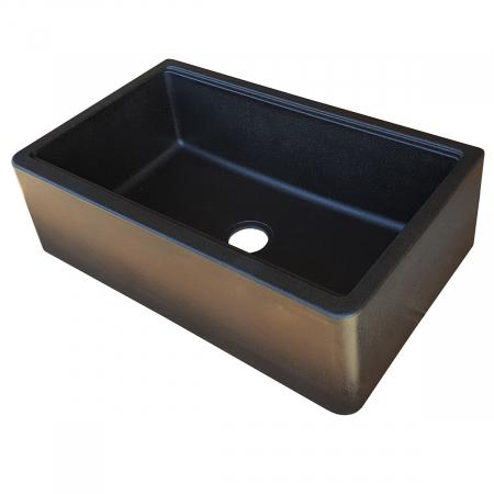 Chiuveta bucatarie granit reversibila CookingAid Lux LX8410 Farm House Apron Neagra / Black Metal Quartz + accesorii montaj12