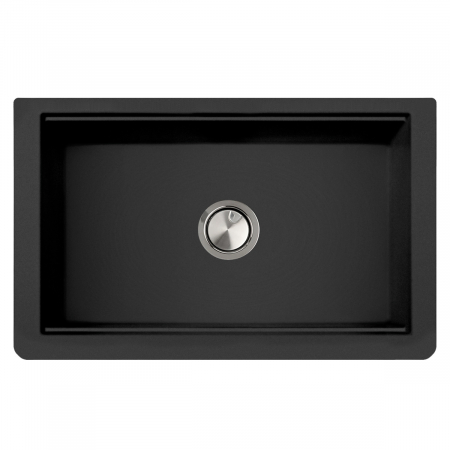 Chiuveta bucatarie granit reversibila CookingAid Lux LX8410 Farm House Apron Neagra / Black Metal Quartz + accesorii montaj14