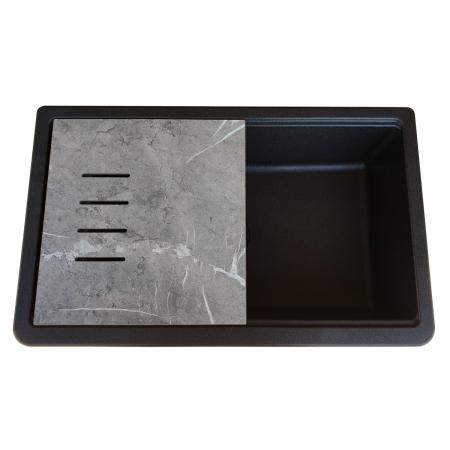 Chiuveta bucatarie granit reversibila CookingAid Lux LX8410 Farm House Apron Neagra / Black Metal Quartz + accesorii montaj4