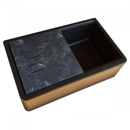 Chiuveta bucatarie granit reversibila CookingAid Lux LX8410 Farm House Apron Neagra / Black Metal Quartz + accesorii montaj10