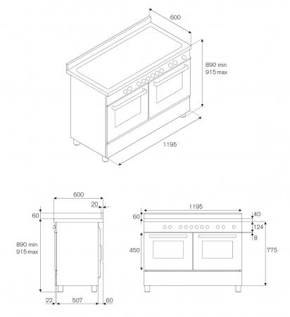 Aragaz Bertazzoni 120 cm 6 arzatoare gaz, cuptor electric dublu Seria Heritage [4]