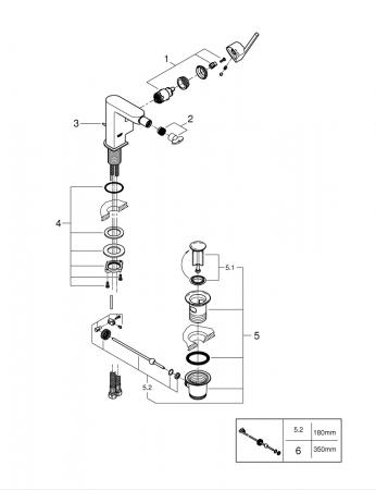 Baterie bideu Grohe Plus cu ventil pop-up [2]
