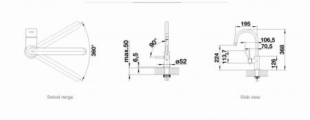 Baterie Blanco CANDORS cu cap extractibil finisaj inox periat [7]