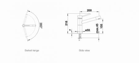 Baterie bucatarie Blanco ALTA-S Compact, dus estensibil,otel [1]
