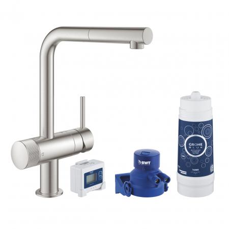 Baterie bucatarie cu filtru de apa Grohe Blue Pure Minta, cap retractabil, filtru marimea L,crom [6]