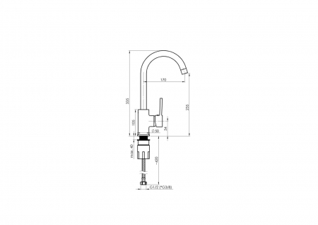 Baterie bucatarie pvd Rubineta  AXE 33 [6]