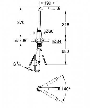 Baterie chiuveta cu senzor Grohe ZEDRA Smartcontrol cu dus retractabil [6]