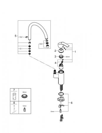 Baterie Grohe Eurosmart New din inox pentru bucatarie [6]