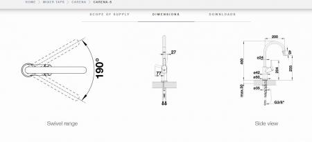 Baterie INOX bucatarie Blanco CARENA S cu dus extensibil [3]