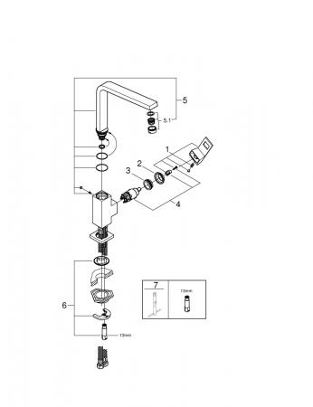 Baterie inox chiuveta Grohe Eurocube crom lucios [10]