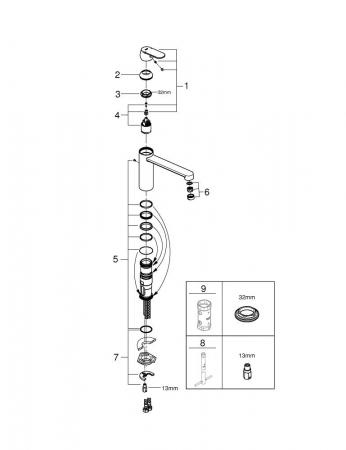 Baterie inox chiuveta Grohe Eurosmart Cosmopolitan [7]
