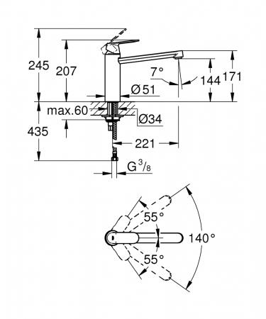 Baterie inox chiuveta Grohe Eurosmart Cosmopolitan [8]
