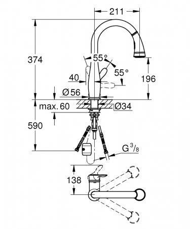 Baterie inox Grohe Parkfield cu dus extractibil si limitator de temperatura [3]