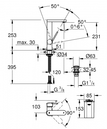 Baterie lavoar Grohe Plus L cu dispaly temperatura LED5