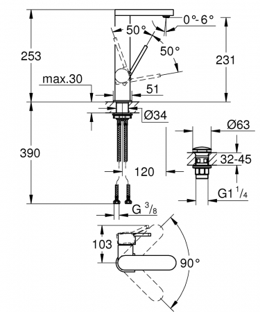 Baterie lavoar Grohe Plus size L cu pipa extractibila [1]