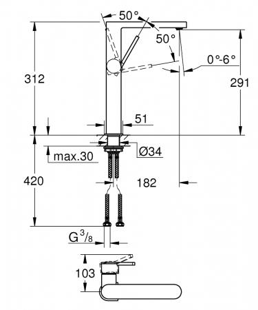Baterie lavoar monocomanda Grohe Plus size XL [1]