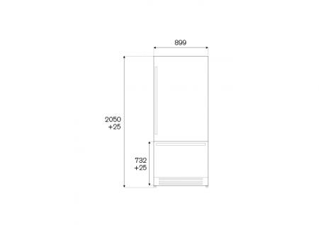 Bertazzoni Combina frigorifica incorporabila 90 cm Inox design Neutral, deschidere dreapta [1]