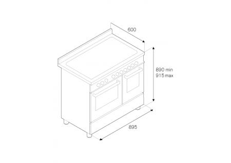 Bertazzoni Aragaz 90x60 cm Premium 5 arzatoare, cuptor electric, Inox design Master [1]