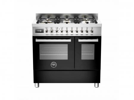 Bertazzoni Aragaz 90x60 cm cuptor electric dublu 6 arzatoare Negru design Professional [0]