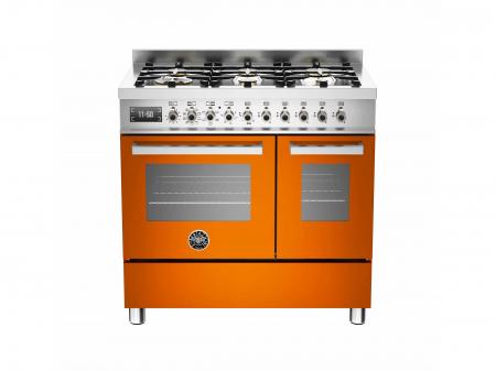 Bertazzoni Aragaz 90x60 cm cuptor dublu electric 6 arzatoare, portocaliu design Professional [0]
