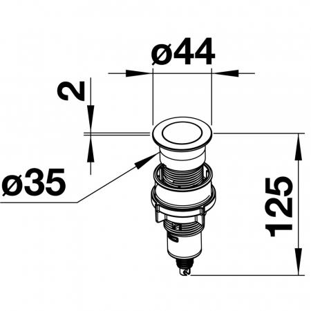 BLANCO PushControl-buton pentru sistemele de scurgere InFino cu excentric [6]